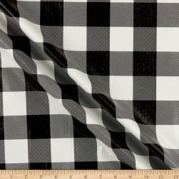 Flannel Backed Checkered Vinyl Tablecloth Black Classic