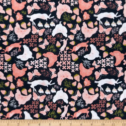 Poppie Cotton Daisy Mae Country Life Navy Fabric