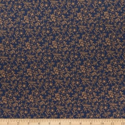 Poppie Cotton Daisy Mae Sweet Blooms Navy Fabric
