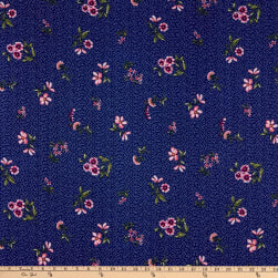 Fabtrends DTY Floral Bouquet Mini Dots Navy Olive