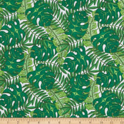 Wilmington Tropical Flair Leaf Toss White Fabric