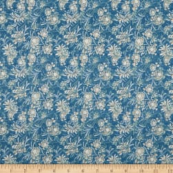 Wilmington Sapphire Blossoms Whispy Floral Denim Fabric
