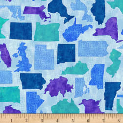 Timeless Treasures Quilter's Trek Needle Scratched States