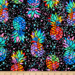 Timeless Treasures Midnight Tropical Galaxy Pineapples Black Fabric