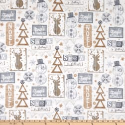 Timeless Treasures Flannel Snow Is Falling Rustic Snow Fun Signs Cream Fabric