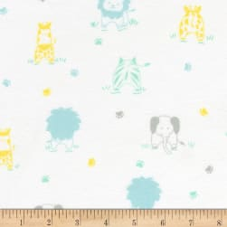 Kaufman Little Savannah Flannel All Over Animals Pastel Fabric