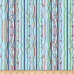 Clothworks Just What I Wanted Stripe Light Denim Fabric