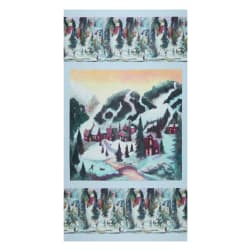Clothworks Digital Ski Town 24'' Panel Multi Pastel Fabric