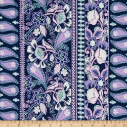 Fabric Merchants Double Brushed Poly Stretch Jersey Knit Floral Paisley Navy/Mint/Lilac