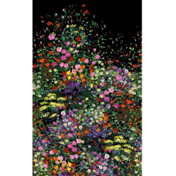 Michael Miller Fabrics Eat Sleep Garden Bowers of Flowers Black
