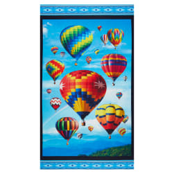 Up In The Air Hot Air Balloon 24'' Panel Black Fabric