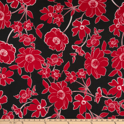 Merchants ITY Jersey Knit Floral Black/Red