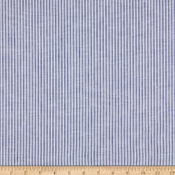 Kaufman Limerick Linen Yarn Dyed Small Stripe Royal
