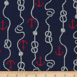 Kaufman Sevenberry Cotton Flax Prints Anchors Navy