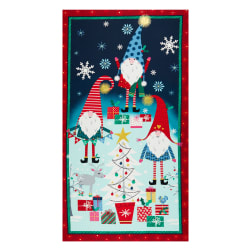 Michael Miller Metallic A Gnome to Fa La Holiday Gnomes 24'' Panel Navy Fabric
