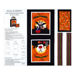 Michael Miller Howl-O-Ween Tote Cotton Duck Bright 36'' Panel White Fabric