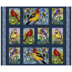QT Fabrics Glass Menagerie Mosaic Birds Picture Patch 36'' Panel Navy