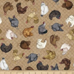 QT Greener Pastures Chickens Brown Fabric