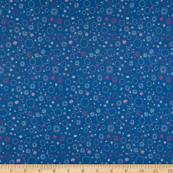 Fabric Merchants Marketa Stengl Double Brushed Stretch Poly Jersey Knit Floral Embroidery Indigo/Pink