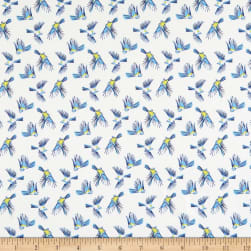 Marketa Stengl Double Brushed Stretch Poly Jersey Knit Flying Small Blue Bird White/Blue Fabric