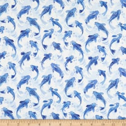 Marketa Stengl Double Brushed Stretch Poly Jersey Knit Koi Fish Dance White/Blue Fabric