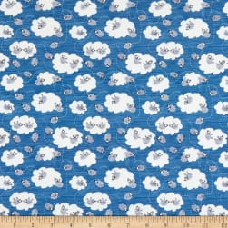 Fabric Merchants Marketa Stengl Double Brushed Stretch Poly Jersey Knit Sheep in Clouds Blue/White