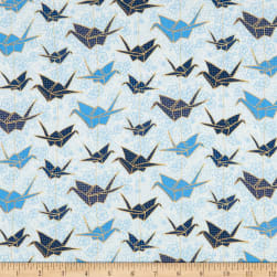 Marketa Stengl Double Brushed Stretch Poly Jersey Knit Japanese Origami Crane and Cherry Blossom White/Blue Fabric