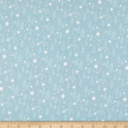 Fabric Merchants Marketa Stengl Double Brushed Stretch Poly Jersey Knit Holy Night with Trees and Stars Teal