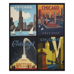 Riley Blake Destinations Chicago Pillow 36'' Panel Multi Fabric