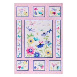 Susybee Flutter the Butterfly Quilt 36'' Panel Pink Fabric