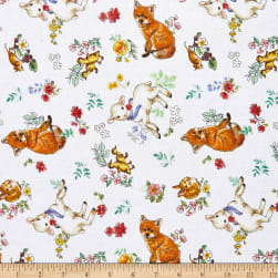 Wilmington New Friends Animal Toss White Fabric