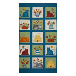 "Benartex Colorful Cats Colorful Cats Squares 24"" Panel"