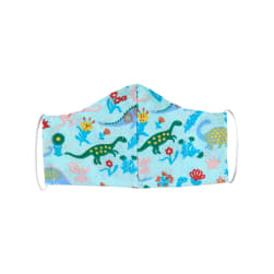 Fabtrends Poly Cotton Facemask Dinosaur Floral Garden Aqua