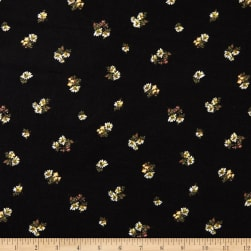 Fabric Merchants Double Brushed Poly Stretch Jersey Knit Mini Daisies Black/White