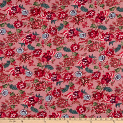 Fabric Merchants Double Brushed Poly Stretch Jersey Knit Floral Garden Mauve/Raspberry