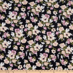 Fabric Merchants Double Brushed Poly Stretch Jersey Knit Floral Clusters Black/Lilac/Cream