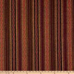 X's and O's Tribal Woven Dobby Stripe Rust/Red/Black
