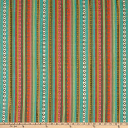 Small Dobby Tribal Woven Stripe Aqua/Green/Orange