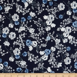 DTY Stretch Knit Puff Flowers Navy/Denim Fabric