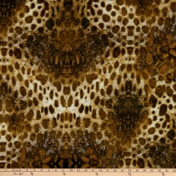 Designer Deadstock Animal Stretch Lace Print Viscose Stretch Jersey Knit Chocolate Brown/Camel