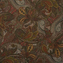 Fabtrends Metallic Sweater Knit Paisley Olive Taupe