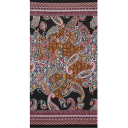 Fabtrends Ity Border Paisley Floral Black Coral