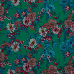 Fabtrends Washer Ghost Crepe Floral Green Fuschia