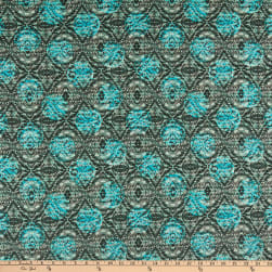 Printed Abstract Cotton Stretch Knit Sky Blue/Teal/Black Fabric