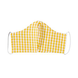 Fabtrends Cotton Yarn Dyed Facemask Plaid White Mustard