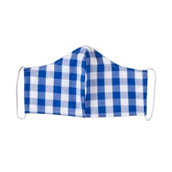Fabtrends Cotton Yarn Dyed Facemask Plaid White Cobalt
