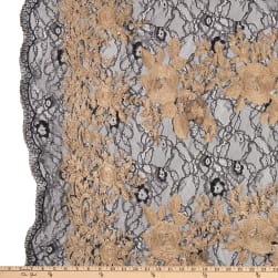 Embroidered Stretch Lace Black/Gold Fabric