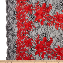 Embroidered Stretch Lace Black/Red Fabric