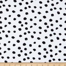 Fabtrends Cotton Stretch Jersey Knit Dotted Paint Strokes White/Black Fabric