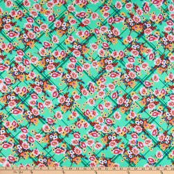 Fabtrends DTY Stretch Knit Floral Plaid Jade/Pink